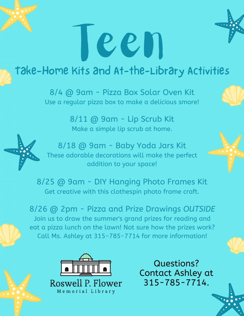 August Take-Home Kits and At-the-Library Activities flyer for teens.