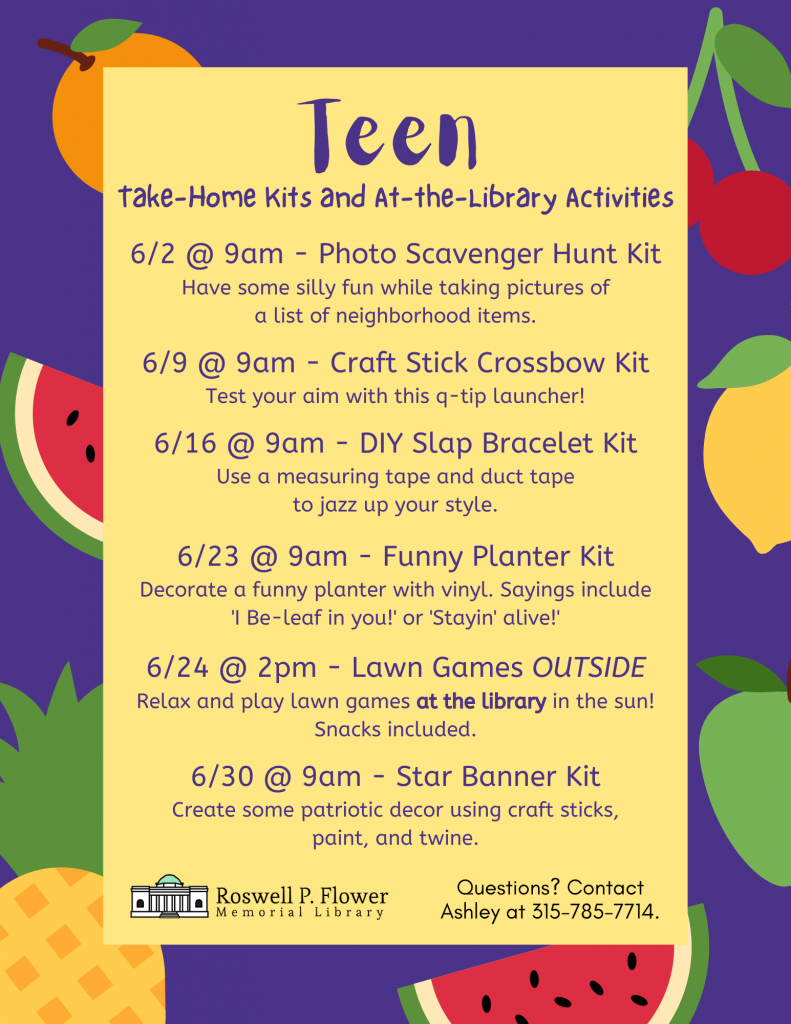 June Take-Home Kits and At-the-Library Activities flyer for teens.