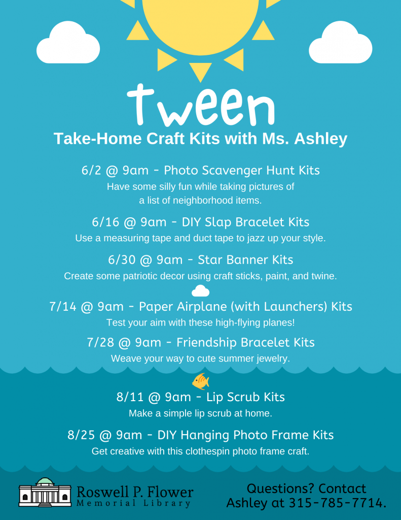 June, July, and August Take-Home Craft Kits with Ms. Ashley flyer for tweens.