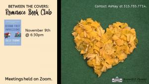 Schedule of November Romance Book Club meetings.