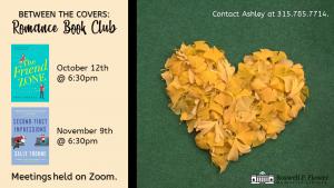 Schedule of October Romance Book Club meetings.