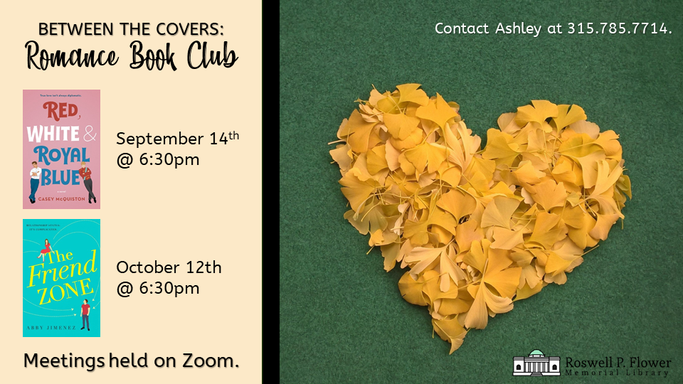 Schedule of September and October Romance Book Club selections.