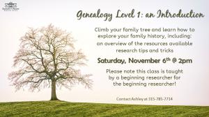 Genealogy Level 1: an Introduction flyer.