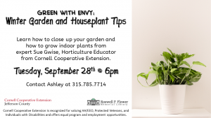 Green with Envy: Winter Garden and Houseplant Tips event flyer.