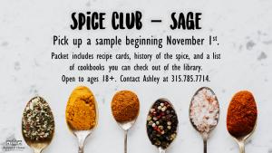 Spice Club November flyer.
