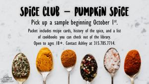 Spice Club October flyer.