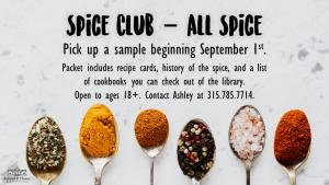September Spice Club flyer.
